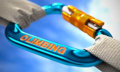 Stock Illustration of Climbing on Blue Carabine with White Ropes