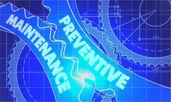 Preventive Maintenance Concept. Blueprint of Gears - stock illustration