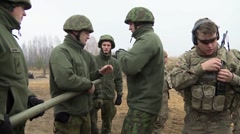 Lithuania Rukla, November 2015, Lithuania Soldiers Instruction For Bangalore - stock footage