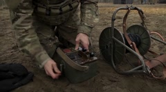 Lithuania Rukla, November 2015, Soldier Load Detonator System Stock Footage