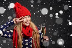Christmas, New Year, winter holidays celebration concept - stock photo