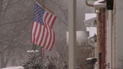 American Flag Snowing Neighborhood Stock Footage
