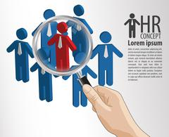 HR concept hand hold magnifying glass Stock Illustration