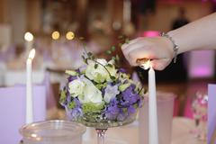 Candles and table decorations - stock photo
