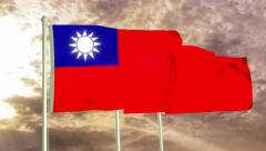 Three flags of Taiwan waving in the wind (4K) Stock Footage
