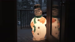 Frosty The Snowman At The Door Stock Footage
