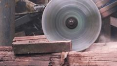 Worker grinding stone block with electric tool Stock Footage