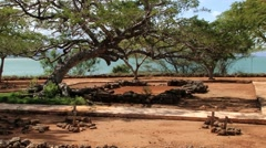 View to the ruins of La Isabela settlement in Puerto Plata, Dominican Republic. Stock Footage