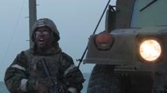 Vigilant Ace, November 2015, US Soldier Beside HMVEE Screaming Stock Footage