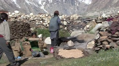 Farmers process harvest in Himalayas.  Stock Footage
