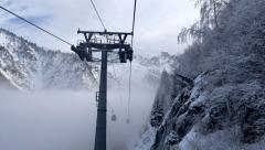 Time Lapse of Cableway in the Mist Stock Footage