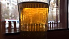 Pint of Beer Closeup Time Lapse - stock footage