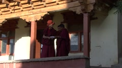 Karsha gompa monks 2 Stock Footage
