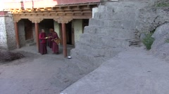 Karsha gompa monks 4 Stock Footage