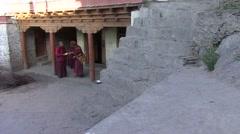 Karsha gompa monks 4 Stock Footage