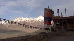 Karsha gompa vie over Padum valley 1 Stock Footage