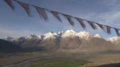 Karsha gompa view over Padum valley 2 Stock Footage
