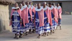 Group of Maasai Women in Traditional Clothes Stock Footage