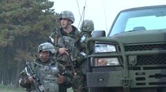 Vigilant Ace, November 2015, Three US soldier Beside HMVEE Talking Stock Footage