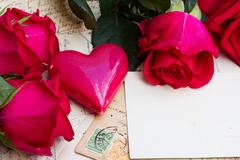 vintage background with hearts and roses - stock photo