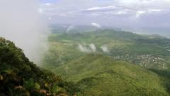 View to the mountain and tropical forest from the moving cable car gondola. Stock Footage