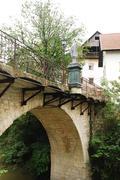 Capuchin's Bridge in Skofja Loka Stock Photos