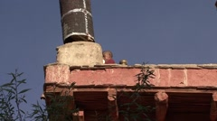 Karsha gompa younf monk blowing horn. Stock Footage