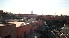 Marrakesh in backlight with Koutoubia view afar moving camera Stock Footage