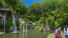 Waterfall and lake timelapse. Views of tropical gardens in Monte Palace, Funchal Stock Footage