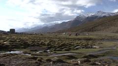 Nimaling camp in Himalaya. Stock Footage