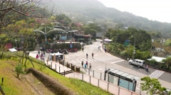 View from the Maokong station to connecting road: Lane 38, Zhinan Rd Stock Footage