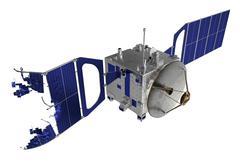 Crashed Satellite On White Background - stock photo