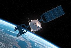 Crashed Satellite Orbiting Earth. 3D Scene - stock photo