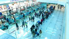 Passport control area queue at international airport, real time Stock Footage