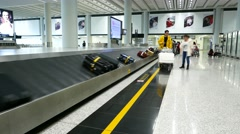 Baggage conveyor at luggage reclaim area, time lapse shot Stock Footage