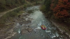 Rafting on the mountain river, view top - stock footage