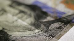 Cash money background. Benjamin Franklin portrait on 100 US dollar bill close up Stock Footage
