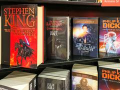 Science Fiction Books For Sale On Library Shelf - stock photo