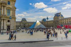 Stock Photo of Tourists outside the Louvre Museum exterior in Paris, France