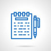 Notes vector icon blue simple line style - stock illustration