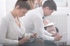 Candidates for internship in corporation - stock photo