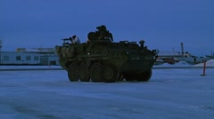 Alaska, November 2015, US Stryker Armed Stand Snowy Area Soldiers Machine Gun Stock Footage