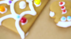 Decorated parts for building gingerbread house for Christmas. - stock footage
