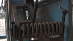 Baseball Batting Cage Pitching Machine. Close Up. Stock Footage