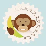 monkey with banana-phone - call center support 2016 new year humor - stock illustration
