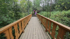 Mother and daughter walking along a wooden path. Stock Footage