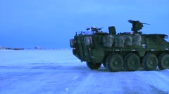 Alaska, November 2015, US Stryker Armed Vehicle Open Door Snow Area Stock Footage