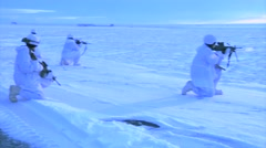 Alaska, November 2015, Soldiers Snow Area Secure Position Stock Footage