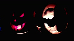 Halloween Pumpkin Carved With Scary Faces on Them Several Specially Prepared Stock Footage
