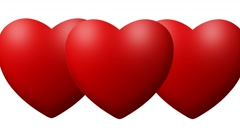 Red Love hearts thumping beating on white background Stock Footage